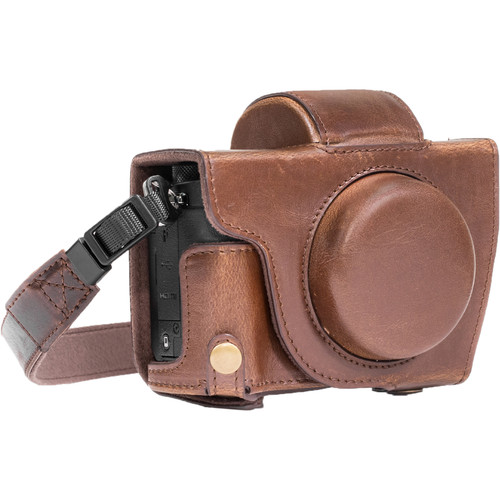 MegaGear Leather Camera Case with Strap for Canon PowerShot G5 X (Dark Brown)