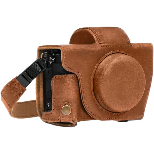 MegaGear Leather Camera Case with Strap for Canon PowerShot G5 X (Light Brown)