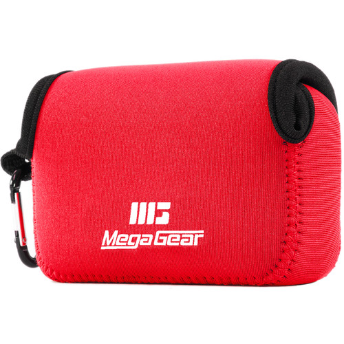 MegaGear Ultra Light Neoprene Camera Case with Carabiner for Panasonic DMC-ZS100 Camera (Red)