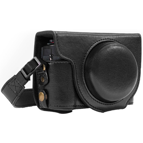 MegaGear Ever Ready Leather Camera Case for Canon PowerShot G7 X Mark II (Black)