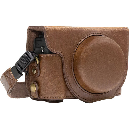 MegaGear Ever Ready Leather Camera Case for Canon PowerShot G7 X Mark II (Dark Brown)