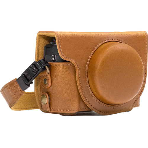 MegaGear Ever Ready Leather Camera Case for Canon PowerShot G7 X Mark II (Light Brown)