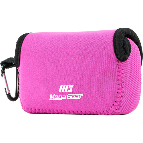 MegaGear Ultra-Light Neoprene Camera Case with Carabiner for Nikon COOLPIX S33 (Hot Pink)