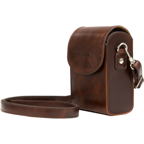 MegaGear Leather Camera Case with Strap for Samsung WB350F (Dark Brown)