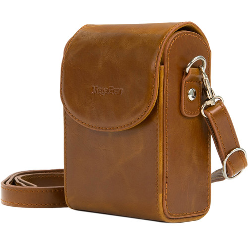 MegaGear Leather Camera Case with Strap for Samsung WB350F (Light Brown)