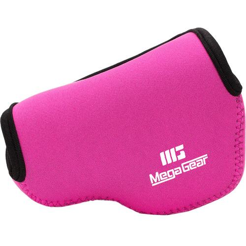 MegaGear Ultra-Light Neoprene Camera Case with Carabiner for Panasonic LUMIX DMC-LX100 (Hot Pink)