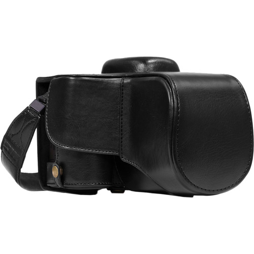 MegaGear Ever Ready PU Leather Case and Strap for Nikon D3400 with 18-55mm Lens (Black)