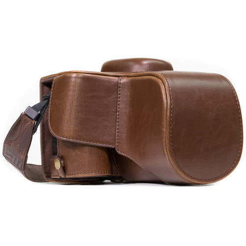 MegaGear Ever Ready PU Leather Case and Strap for Nikon D3400 with 18-55mm Lens (Dark Brown)