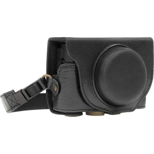 MegaGear Leather Camera Case with Strap for Sony DSC-RX100 VI, V & IV (Black)