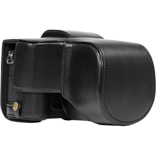 MegaGear Ever Ready PU Leather Case and Strap for Panasonic Lumix DMC-G85 or G8 with 12-60mm Lens (Black)