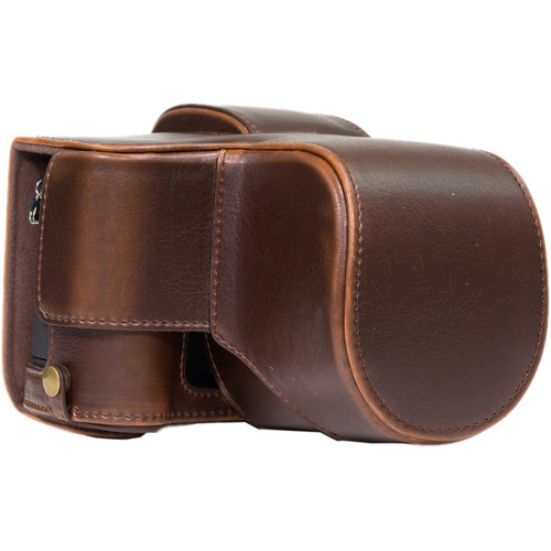 MegaGear Ever Ready PU Leather Case and Strap for Panasonic Lumix DMC-G85 or G8 with 12-60mm Lens (Dark Brown)