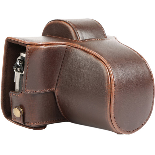 MegaGear MG918 Ever Ready Leather Case with Bottom Opening for Olympus PEN E-PL8 (Dark Brown)