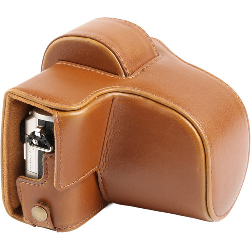 MegaGear MG919 Ever Ready Leather Case with Bottom Opening for Olympus PEN E-PL8 (Light Brown)