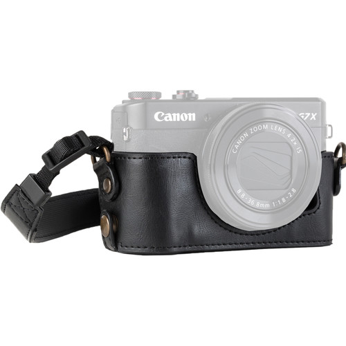 MegaGear Genuine Leather Camera Half Case and Strap for Canon PowerShot G7 X Mark II (Black)