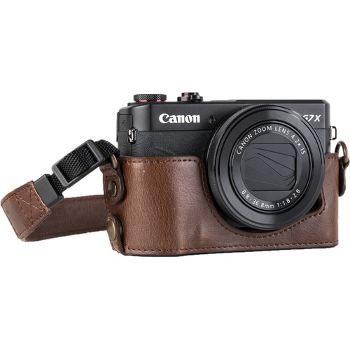 MegaGear Genuine Leather Camera Half Case and Strap for Canon PowerShot G7 X Mark II (Dark Brown)