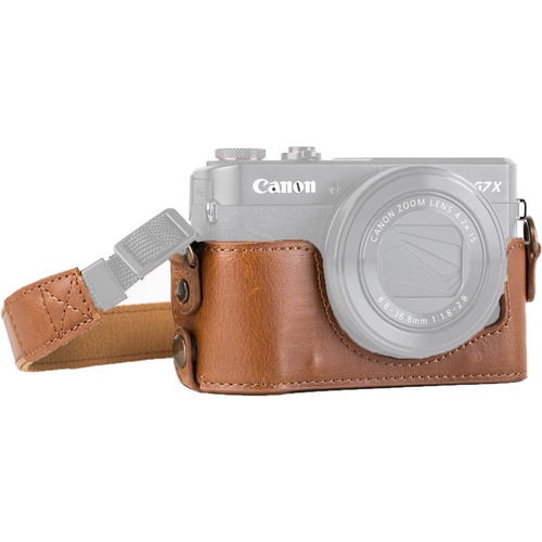 MegaGear Genuine Leather Camera Half Case and Strap for Canon PowerShot G7 X Mark II (Light Brown)