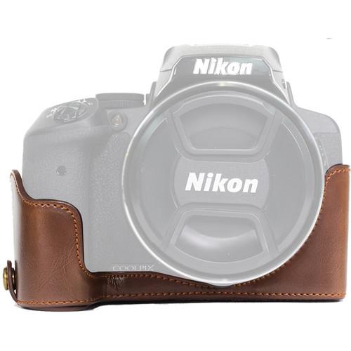 MegaGear Half-Bottom Ever Ready Case for Nikon COOLPIX P900/P900S (Dark Brown)