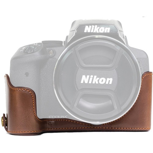 MegaGear Half-Bottom Ever Ready Case for Nikon COOLPIX P900/P900S (Dark Brown)