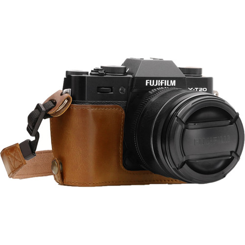 MegaGear Ever Ready PU Leather Half Case for Fujifilm X-T10, X-T20, X-T30 (Light Brown)