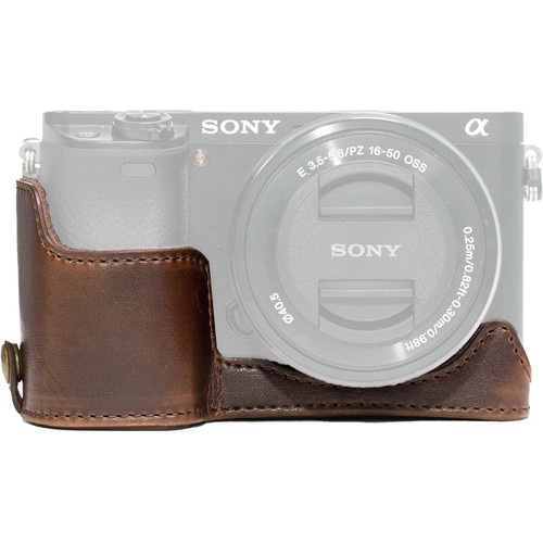 MegaGear Ever Ready Leather Half-Bottom Camera Case for Sony Alpha a6300 ILCE - 6300, a6000 (Dark Brown)