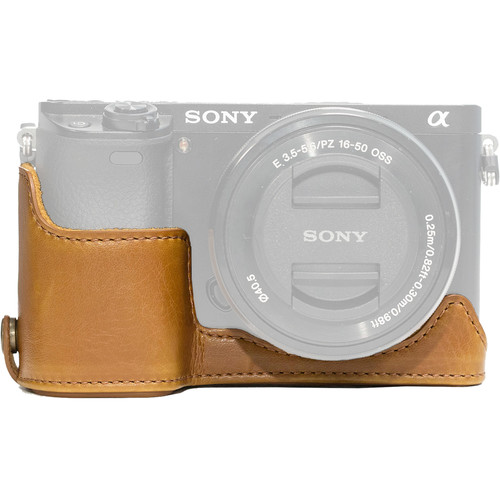 MegaGear Ever Ready Leather Half-Bottom Camera Case for Sony Alpha a6300 & a6000 (Light Brown)