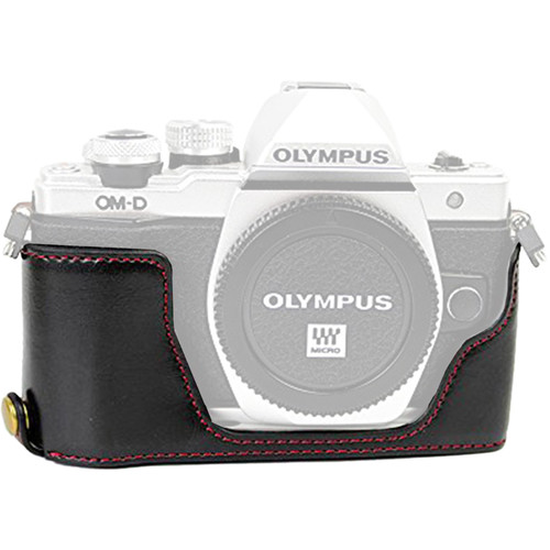 MegaGear MG966 Ever Ready PU Leather Case Bottom Opening for Olympus OM-D, E-M5 Mark II (Black)