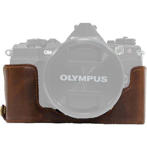 MegaGear Ever Ready PU Leather Half Case and Strap for Olympus OM-D, E-M5 Mark II (Dark Brown)