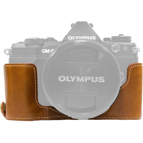MegaGear Ever Ready PU Leather Half Case and Strap for Olympus OM-D, E-M5 Mark II (Light Brown)