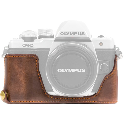 MegaGear Ever Ready PU Leather Half Case and Strap for Olympus OM-D E-M10 Mark II, E-M10 (Dark Brown)