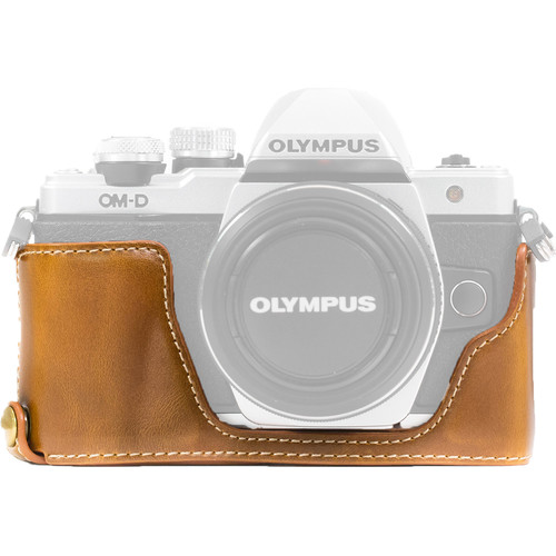 MegaGear Ever Ready PU Leather Half Case and Strap for Olympus OM-D E-M10 Mark II, E-M10 (Light Brown)