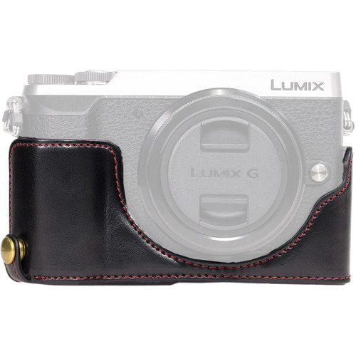 MegaGear Ever Ready Leather Half-Bottom Camera Case for Panasonic LUMIX GX85 (Black)