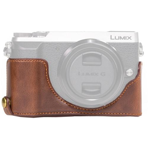 MegaGear Ever Ready Leather Half-Bottom Camera Case for Panasonic LUMIX GX85 (Dark Brown)
