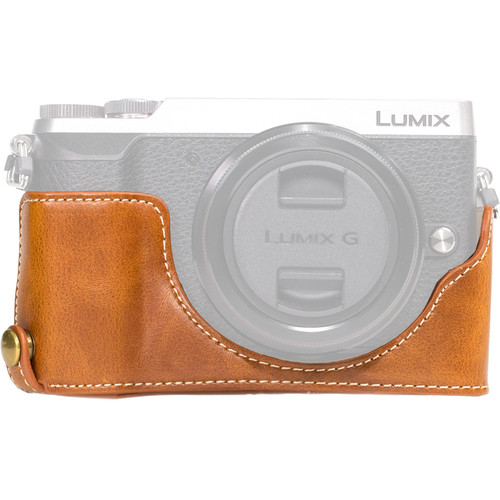 MegaGear Ever Ready Leather Half-Bottom Camera Case for Panasonic LUMIX GX85 (Light Brown)