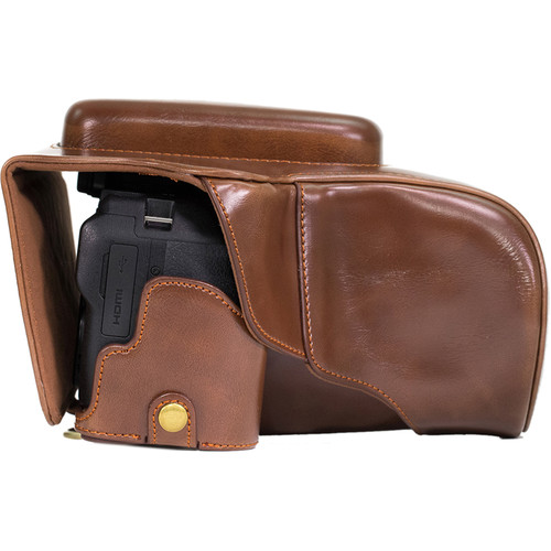 MegaGear Ever Ready Leather Camera Case with Bottom Opening for Nikon P900/P900s (Dark Brown)