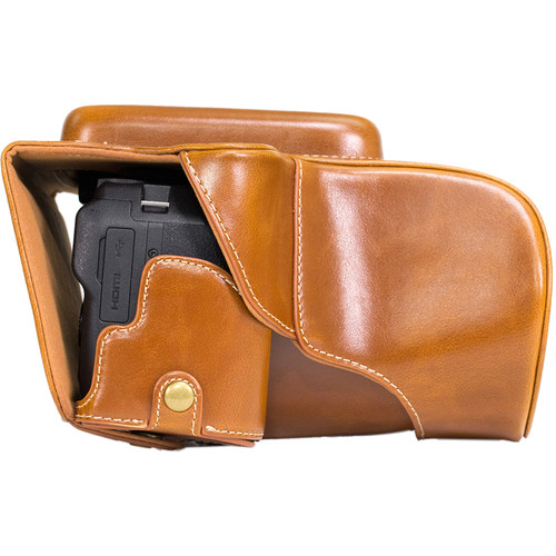 MegaGear Ever Ready Leather Camera Case with Bottom Opening for Nikon P900/P900s (Light Brown)