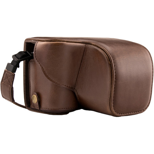 MegaGear MG988 Ever Ready Leather Case with Bottom Opening for Sony a5100 ILCE-5100 (Dark Brown)