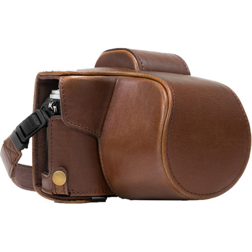 MegaGear Ever Ready PU Leather Case and Strap for Olympus OM-D E-M10 Mark II with 14-42mm Lens (Dark Brown)
