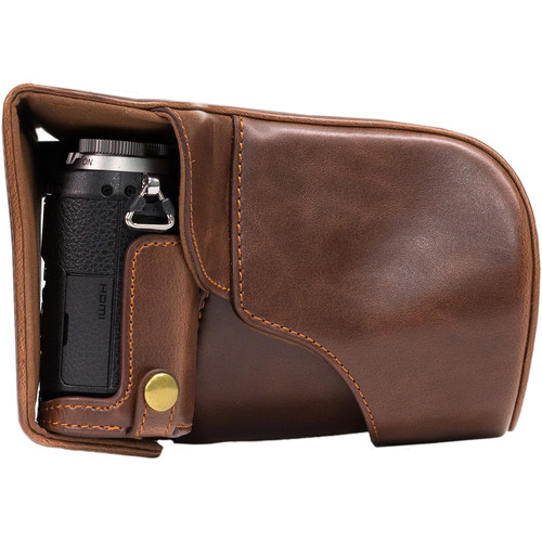 MegaGear MG997 Ever Ready Leather Case with Bottom Opening for LUMIX GX85 14-140mm (Dark Brown)