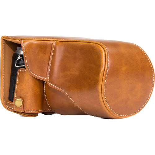 MegaGear MG998 Ever Ready Leather Case with Bottom Opening for LUMIX GX85 14-140mm (Light Brown)