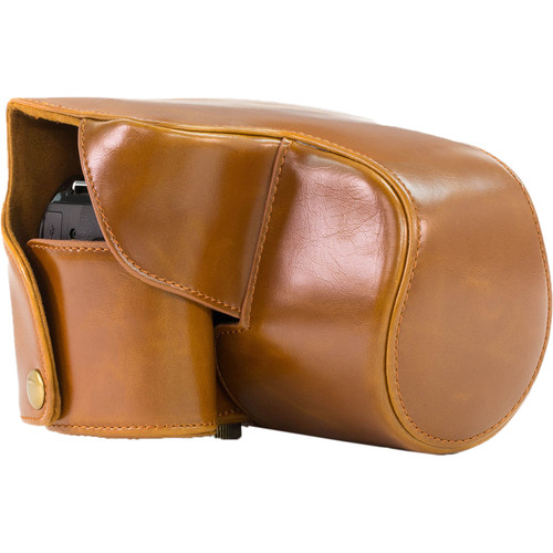 MegaGear Ever Ready PU Leather Camera Case with Strap for Nikon Coolpix P610 with Zoom Lens, P530, or P520 (Brown)