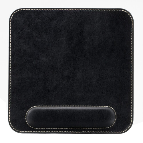 Londo Genuine Leather Mousepad with Wrist Rest (Black)