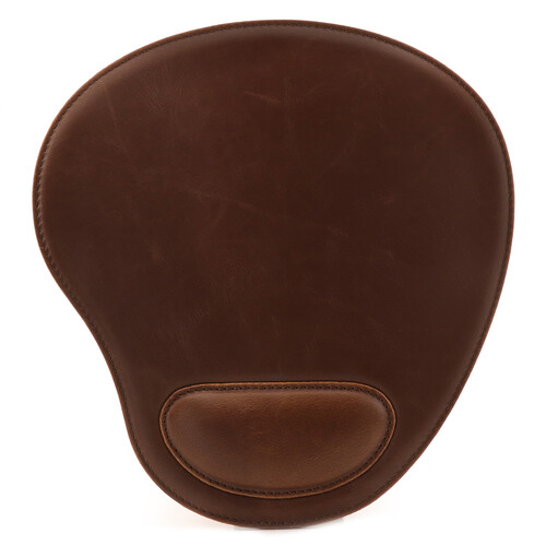 Londo Leather Oval Mouse Pad with Wrist Rest (Dark Brown)