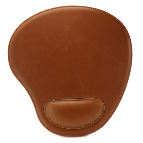 Londo Leather Oval Mouse Pad with Wrist Rest (Light Brown)