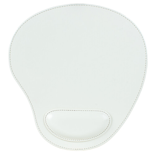 Londo Leather Oval Mouse Pad with Wrist Rest (White)