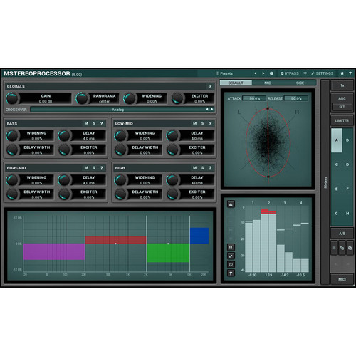 MeldaProduction MStereoProcessor - Multiband Stereo Analyzer/Enhancer Plug-In (Download)