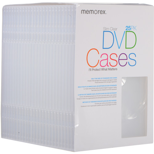 Memorex dvd slim cases clear 25 pack 01985 b h photo video for Memorex dvd inserts template