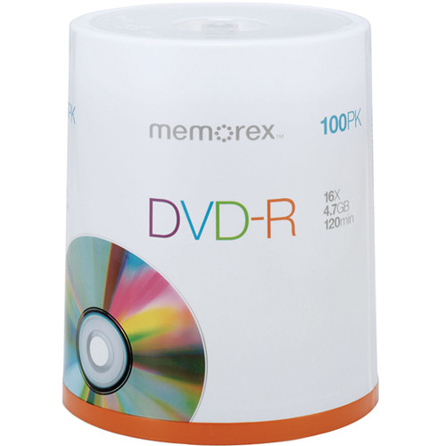 Memorex DVD-R 4.7GB 16x Single Sided Discs (100-Pack, Spindle Packaging)