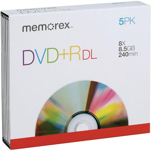 Memorex DVD+R Double Layer Discs (5-Pack, Slimline Jewel Case)