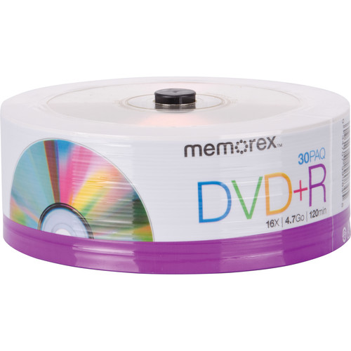 Memorex DVD+R 4.7GB Single-Sided 16x Recordable Discs (Spindle Pack of 30)