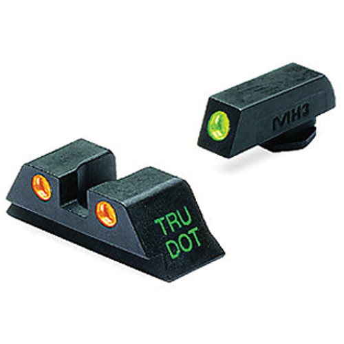 MEPROLIGHT LTD Tru-Dot Tritium Night Sight Set for Glock 10mm/.45ACP (Orange / Green)
